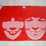 'Zusjes', zeefdruk (rood-roze), 70x100 cm.
